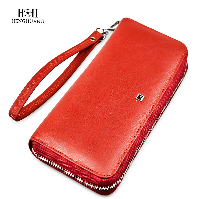 купить Fashion Genuine Leather Women Long Wallet Female Zipper coin purses Money Bags Lady Bank Credit Cards Holder Purse Clutch Wallet недорого