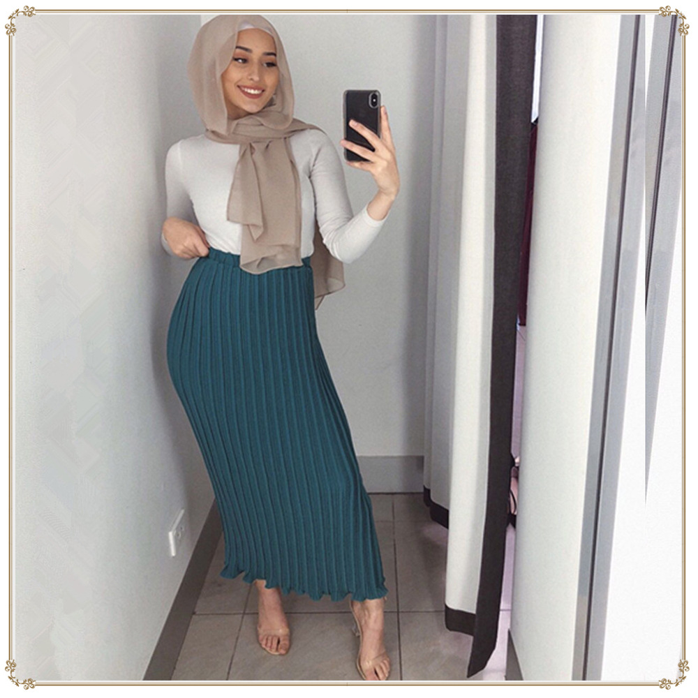 Image 3 - Maxi Muslim Women pleated skirts  fashion elegant daily wearing  with falbala  Half Long ankle skirts SK9017Islamic Clothing   -