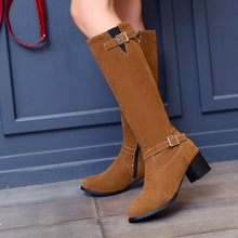Winter Boots Real 2016 Big Size 34-43 Women Knee High Boots Sexy Chunky Heels Round Toe Spring Autumn Shoes Less Platform F16(China)