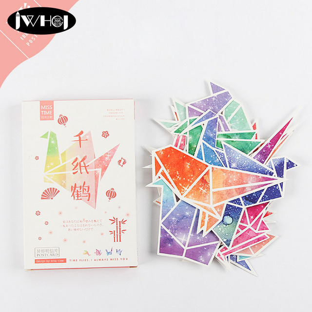 30 Pcs Beautiful Origami Cranes Heteromorphism Postcard Valentines Day New Year Greeting Card Birthday Gift Message Lomo Cards