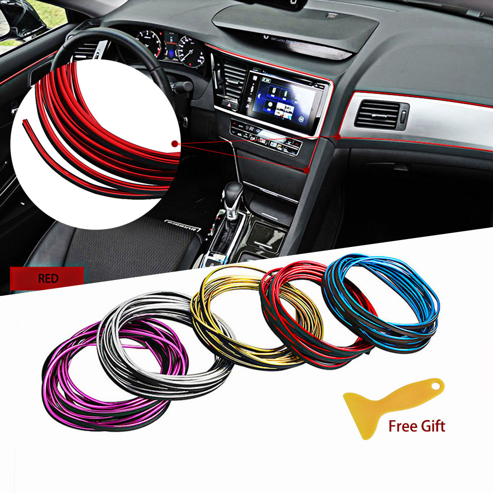 LUCKZHE Car Styling Decals Interior Mouldings 3D Thread Stickers Decoration Strip