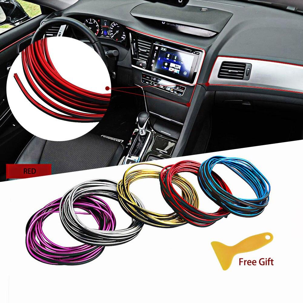 Estilo do carro marca adesivos e decalques interior molduras decorativas 3d thread adesivos decoração tira para carro universal