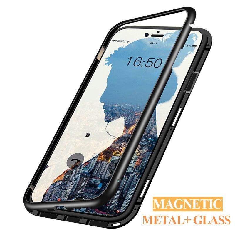 Adsorbimento magnetico cassa del telefono per iphone X XS Max XR caso magnete Di Lusso del respingente del Metallo della copertura di vetro per iphone 6s 6 7 8 più di casi