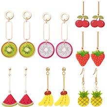 2018 new fashion cute fruit earrings strawberry pineapple tomato kiwi orange dragon watermelon creative art plant