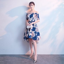 A-line Prom Dress Blue Embroidery Appliques Short Party Dresses Sexy Boat Neck Asymmetrical Fashion Formal Ball Gowns E081