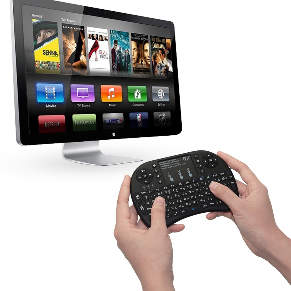 Image 2 - Rii i8+ Russian Mini Wireless Keyboard lithium battery backlight Air Mouse Remote Control Touchpad Handhe TV BOX LaptopldKeyboards   - AliExpress