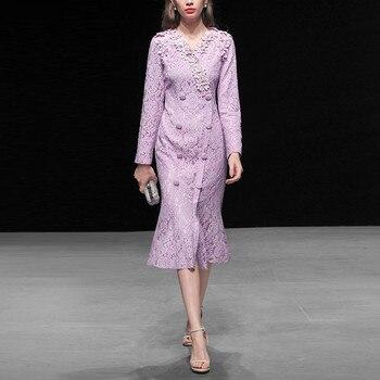 90bb39ddd374d05 Весна взлетно-посадочной полосы дизайнерское платье 2019 Для женщин  элегантное пурпурное кружевное платье миди с длинным рукавом Русалка Ве..