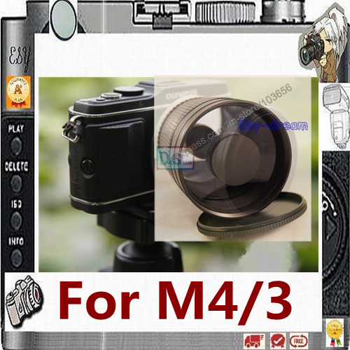 Manual 500mm F8 Mirror Telephoto Lens for Olympus Panasonic M4/3 M43 MFT Camera PA069 tuffstuff mft 2700