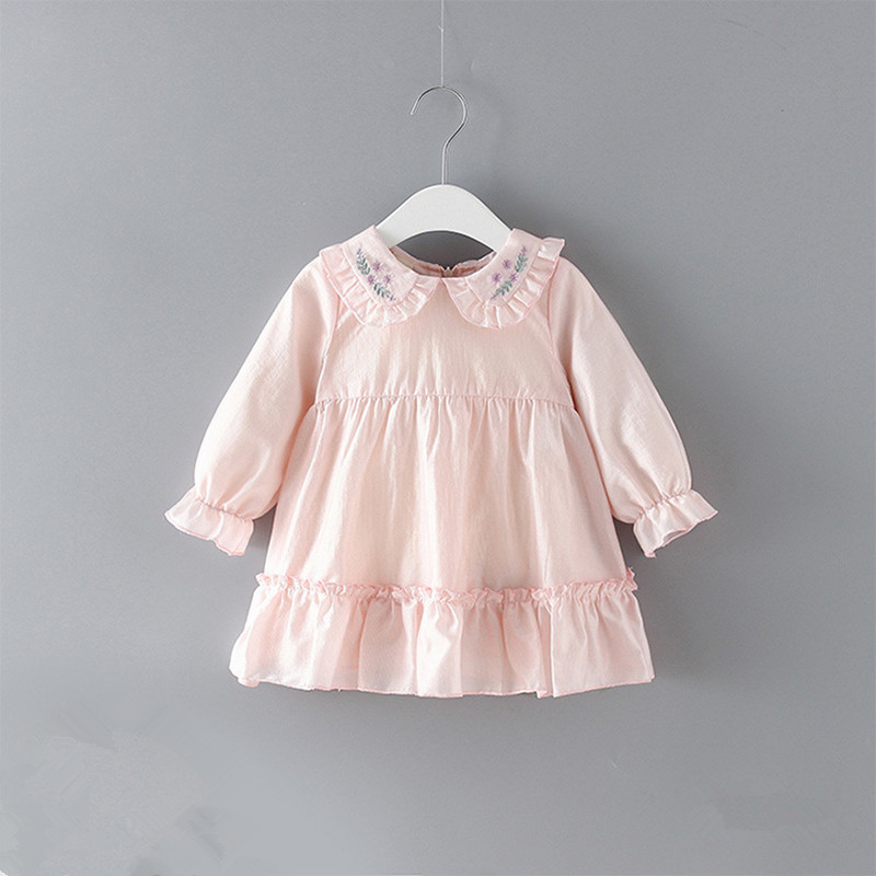 Newborn Baby Girls Warm Dress Cute Peter Pan Collar Floral Party Princess Dress Outfits Clothes
