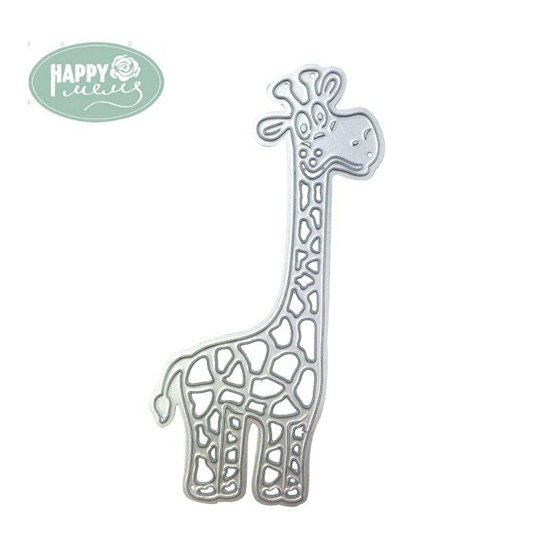 Happymems Žirafa Řezací razítka Stříbrná DIY karta Zhotovení kovu Řezání matrice Řemesla Papírový papír Dies Scrapbooking Die Cut