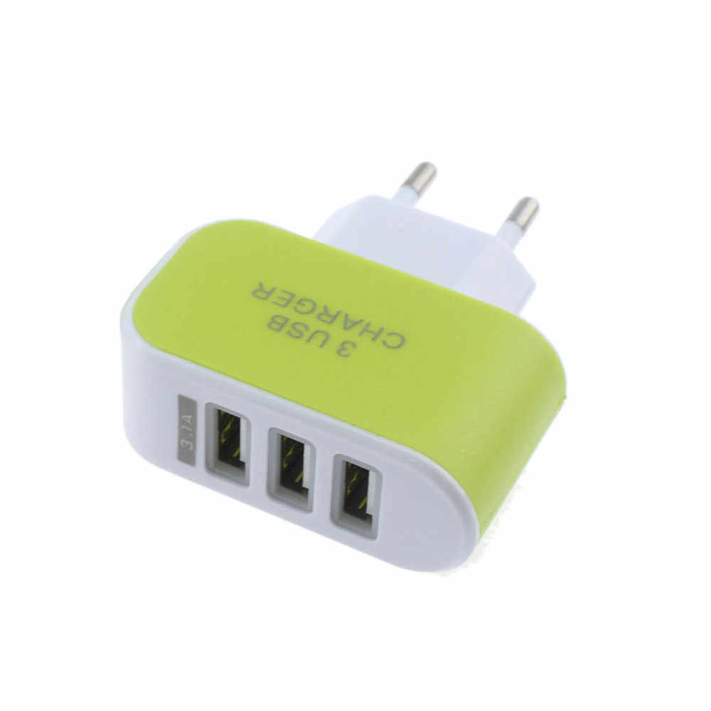 EPULAFashion 3.1A Triple USB Port Wall Home Travel AC Mobile Fast Charger Adapter For Samsung For Apple EU Plug