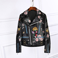2017 Spring Autumn Luxury Design Floral Print Black Faux leather Studs Jacket back with Snake Flowers Embroidered Zipped cuffs