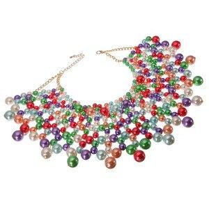 Image 3 - 10 색상 chunky 성명 목걸이 여성 목걸이에 대 한 턱 받이 목걸이 초커 수 제 파란색 된 목걸이 결혼식 파티에 대 한 맥시 보석