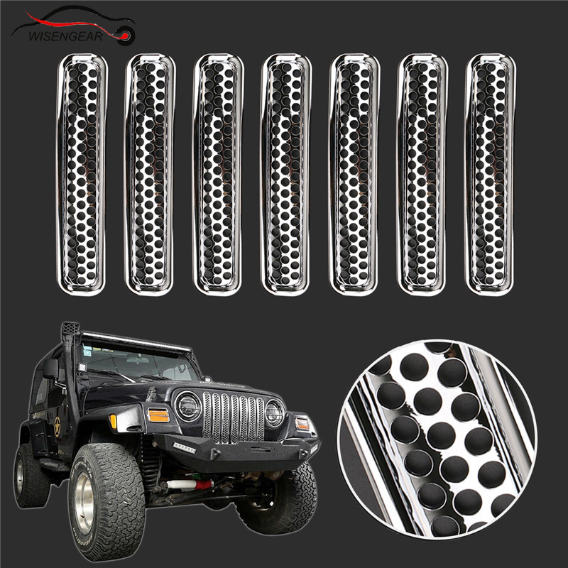 WISENGEAR For Jeep Wrangler TJ Insert Mesh Grill Shell Chrome Front Grille Cover Bumper Radiator Grille Decoration 1997 2006 /