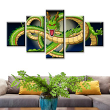 HD Prints Canvas Pictures Modern Wall Art 5 Pieces Cartoon Dragon Ball Z Paintings Goku Ride Shenron Poster Home Decor Framework