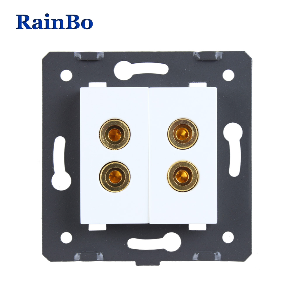 RainBo 2Speaker socket White Plastic Materials DIY Accessory Function Key For wall Speaker socket EU Standard socket A82SOW/B welaik free shipping white plastic materials diy accessory function key for phone and usb socket eu standard a8tpus