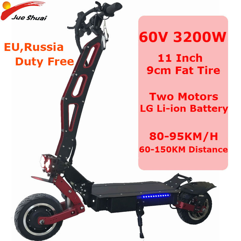 3200W 60V 11 Inch Electric Scooters Two Motor Wheel Scooter Electrico 80KM/H LG Lithium Battery With Light Foldable Skateboard Electric Scooters     - title=