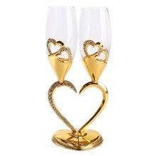 В форме сердца красное вино бокал высокая нога Хрустальное стекло золото серебро двойная чашка для влюбленных подарок на день рождения свадебное украшение