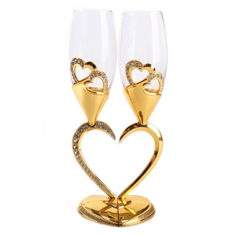 Heart shaped Red Wine Glass High Foot Crystal Glass Gold Silver Double Cup Lovers Cup Birthday Gift Wedding Decoration