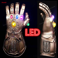 LED Light Thanos Gloves Infinity Gauntlet Infinity War Cosplay LED PVC Gloves Latex Mask Gift Halloween Props Deluxe CD15 T05