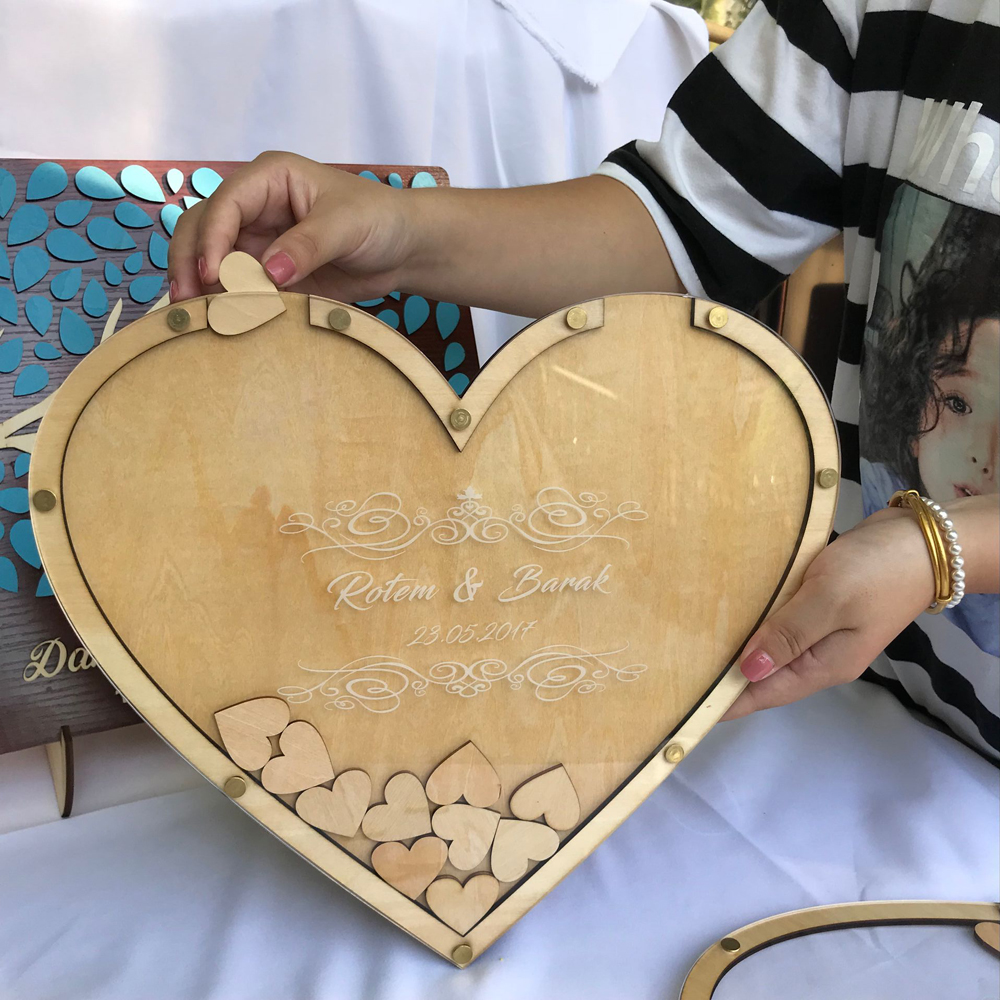 Personalized heart Rustic wedding engraved Alternative Wooden memory guestbooks with heart drop box signature hearts guest books