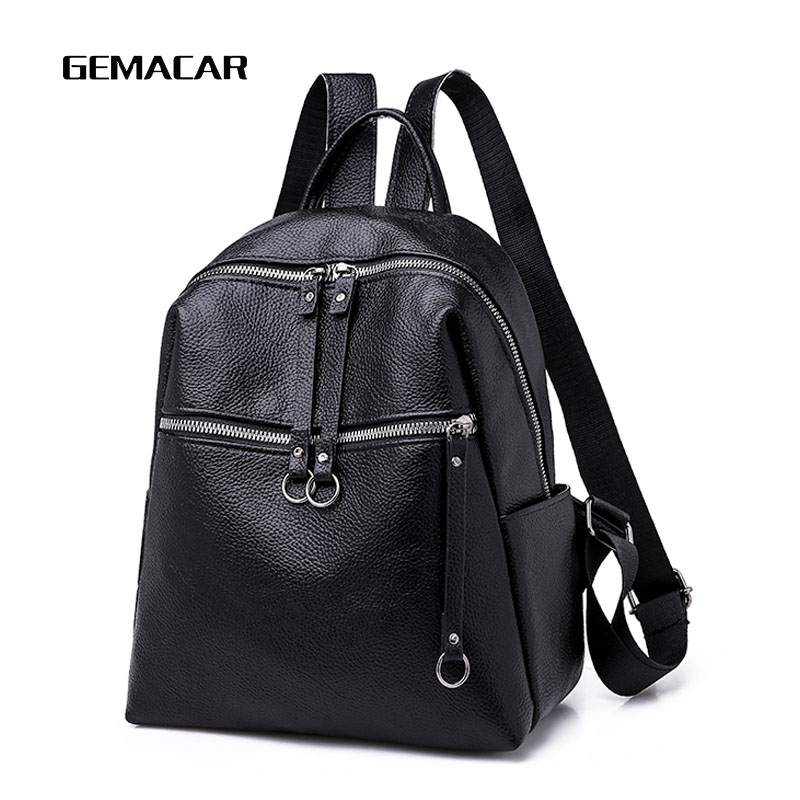 2019 Newleisure Female Backpack Solid Color Simple Women Backpacks PU Leather Belt Decoration Black Green Classic Large Capacity