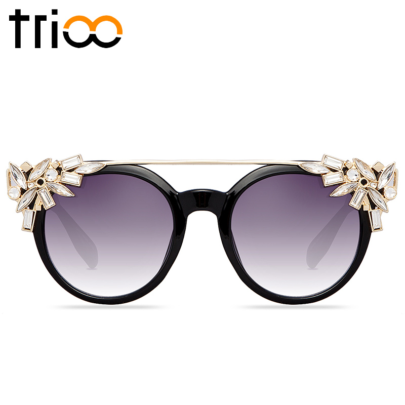TRIOO Crystal Flower Women Sunglasses With Original Box Luxury Brand Bling Female Lunette High Fashion Round Ladies Sun Glasses