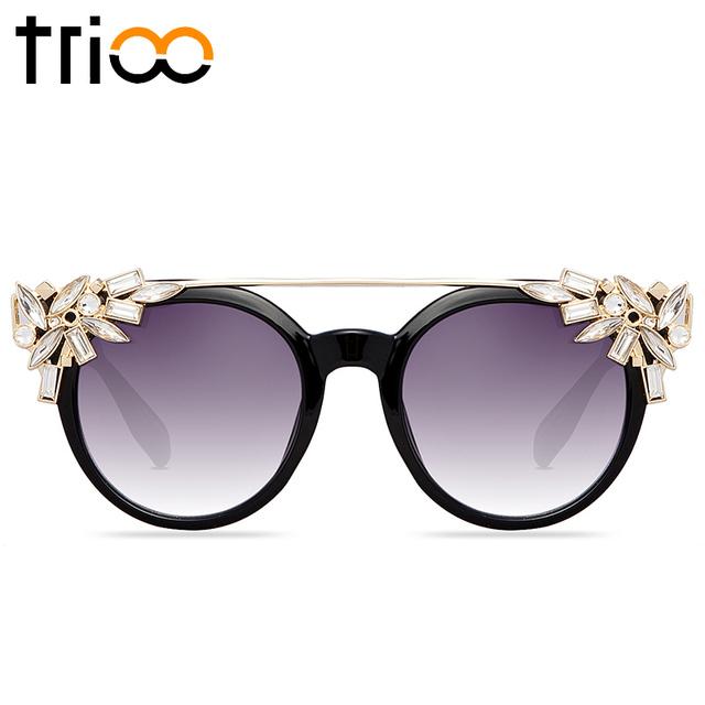 Trioo cristal flor mulheres óculos de sol com caixa original marca de luxo que bling feminino luneta alta moda rodada óculos de sol das senhoras