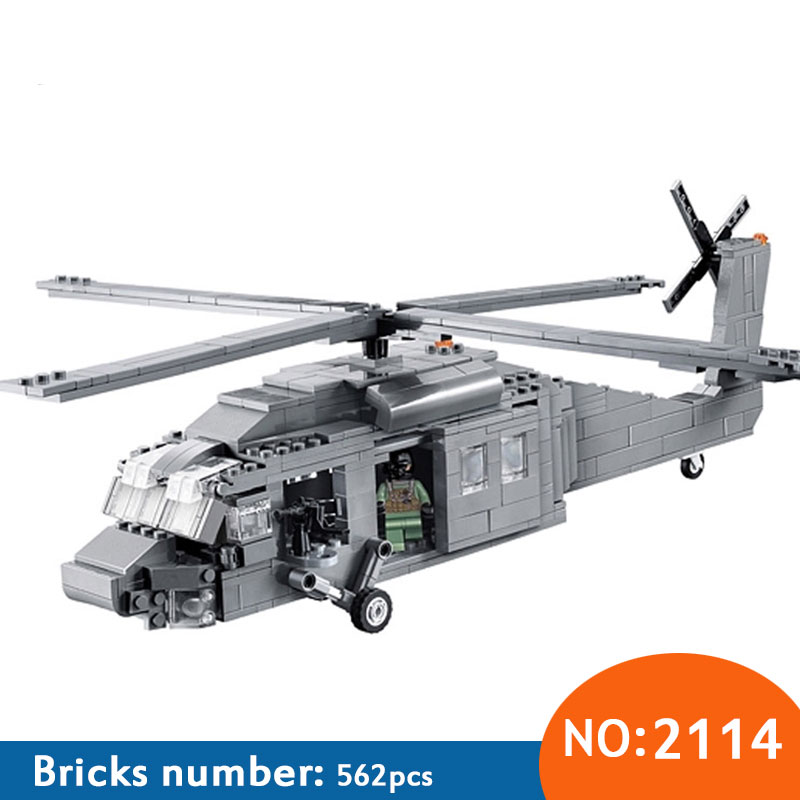 Decool 2114 UH-60 Black Hawk Commandos Helicopter Sheng Yuan Building Block Kids DIY Bricks Toys for Children syma black hawk uh 60 gyro 3ch ик управление s102g