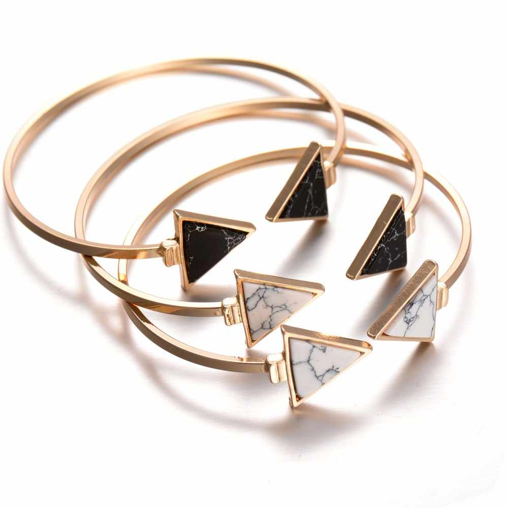 High Quality Fashion Gold Color Black White stone Geometric Triangle Open Cuff Punk Bracelet Bangle Faux Marble Stone pulseras