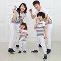 1 pc 2016 família combinando camisetas verão mãe filha pai filho moda camisa de algodão da listra curta Outfits Mom roupa dos miúdos definir