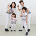 1pc 2016 Family Matching T-shirts Summer Mother Daughter Dad Son Fashion Short Stripe Cotton Shirt Outfits Mom Kids Clothes Set