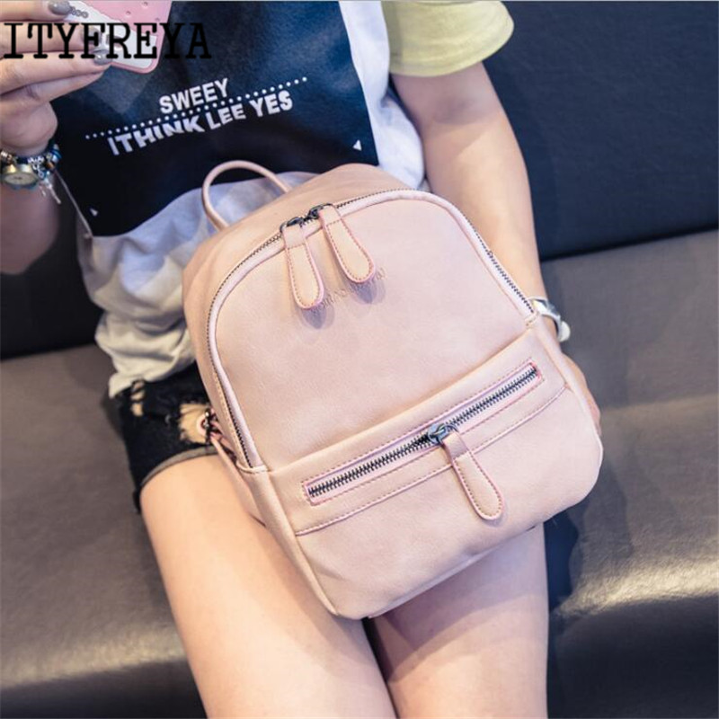 Small fresh college wind mini backpack soft face pu candy color small backpack female ba ...