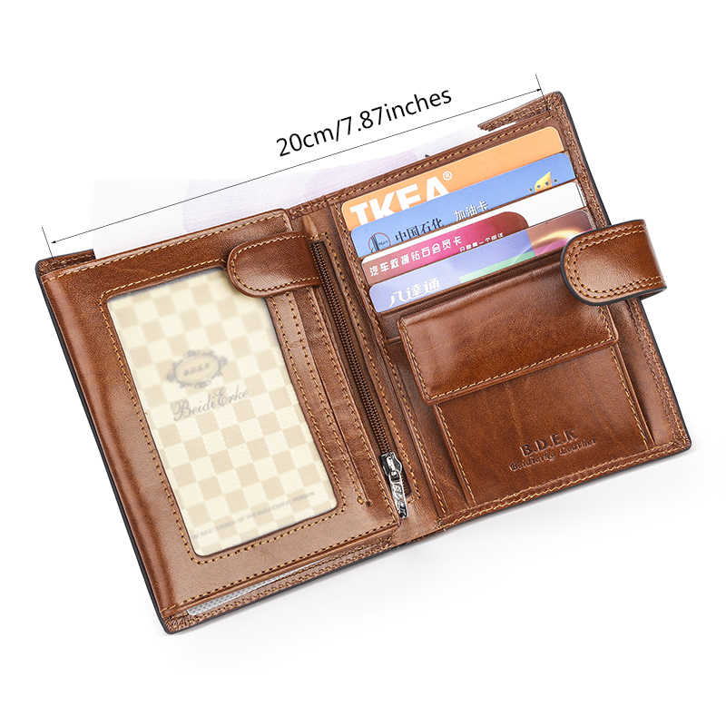 43f8d5d86a4a Passport Credit Card Holder Coin Purses Italian Cattle Neckline Real  Genuine Leather Wallets Men Billetera Portefeuille Carteras