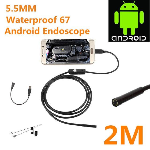 2017 Mais Novo 5.5/7mm Tubo Cobra Inspeção Endoscópio Endoscópio Fio USB À Prova D' Água Mini Android Smartphone Android Compatível PC
