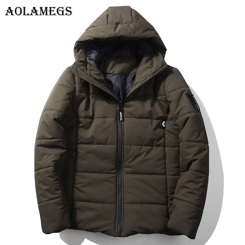 Aolamegs Winter Jacket Men Solid Thick Pocket Mens Parkas Plus Size Down Jacket Stand Collar Casual
