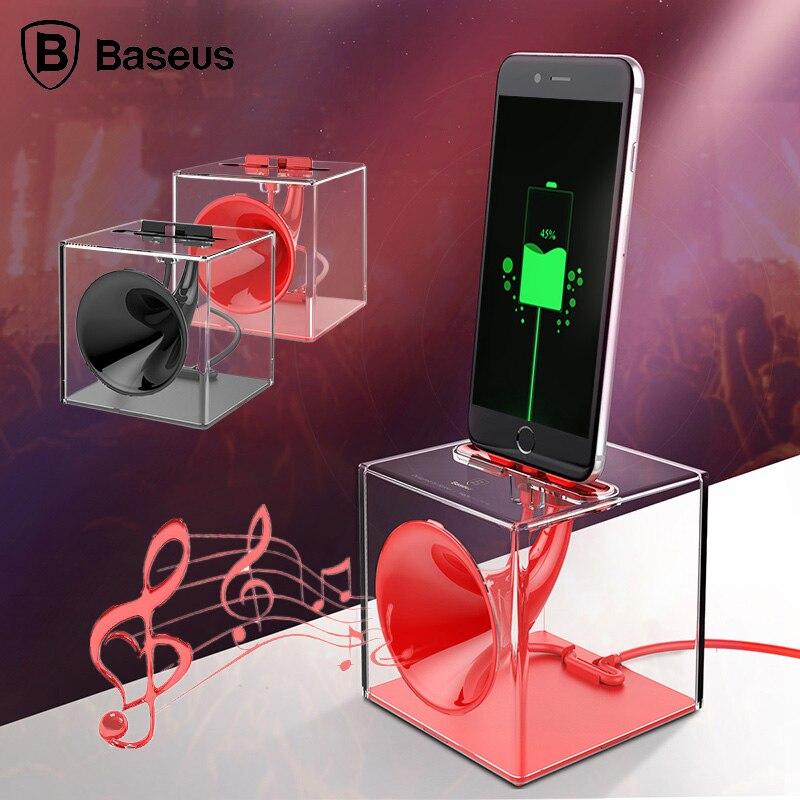 Baseus Data sync Charge Dock Station Pour iPhone X 8 7 6 6 s Plus 5 5S SE Amplifier Le Son Téléphone Portable Dock Chargeur Avec USB câble