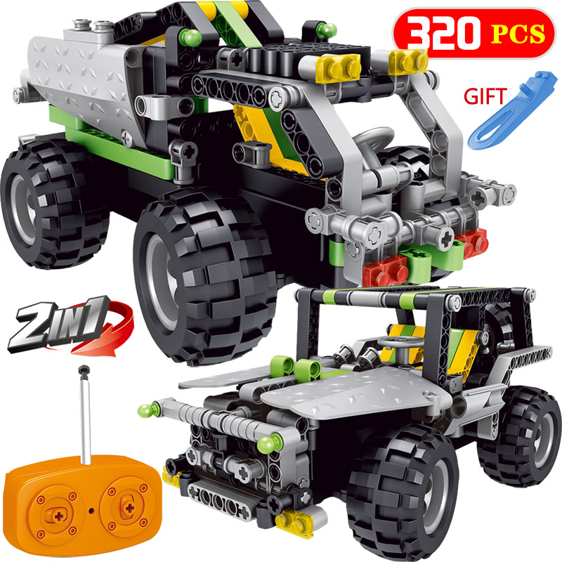 2 IN 1 RC Car Compatible LegoINGLYS Radio Technical Vehicle Green SUV Control Blocks Assembled Blocks Children Toys Gift 2 in 1 rc car compatible legoinglys radio technical vehicle green suv control blocks assembled blocks children toys gift