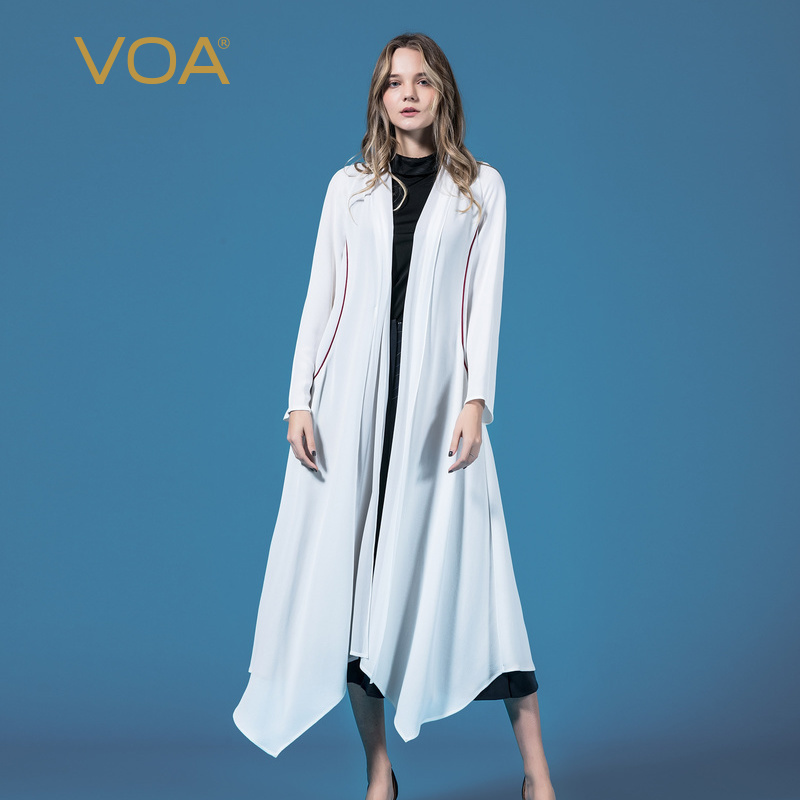 VOA Корея Chic Нерегулярные длинный плащ пальто Для женщин белый верхняя одежда Повседневное кардиган тяжелых шелковая одежда женской элегант