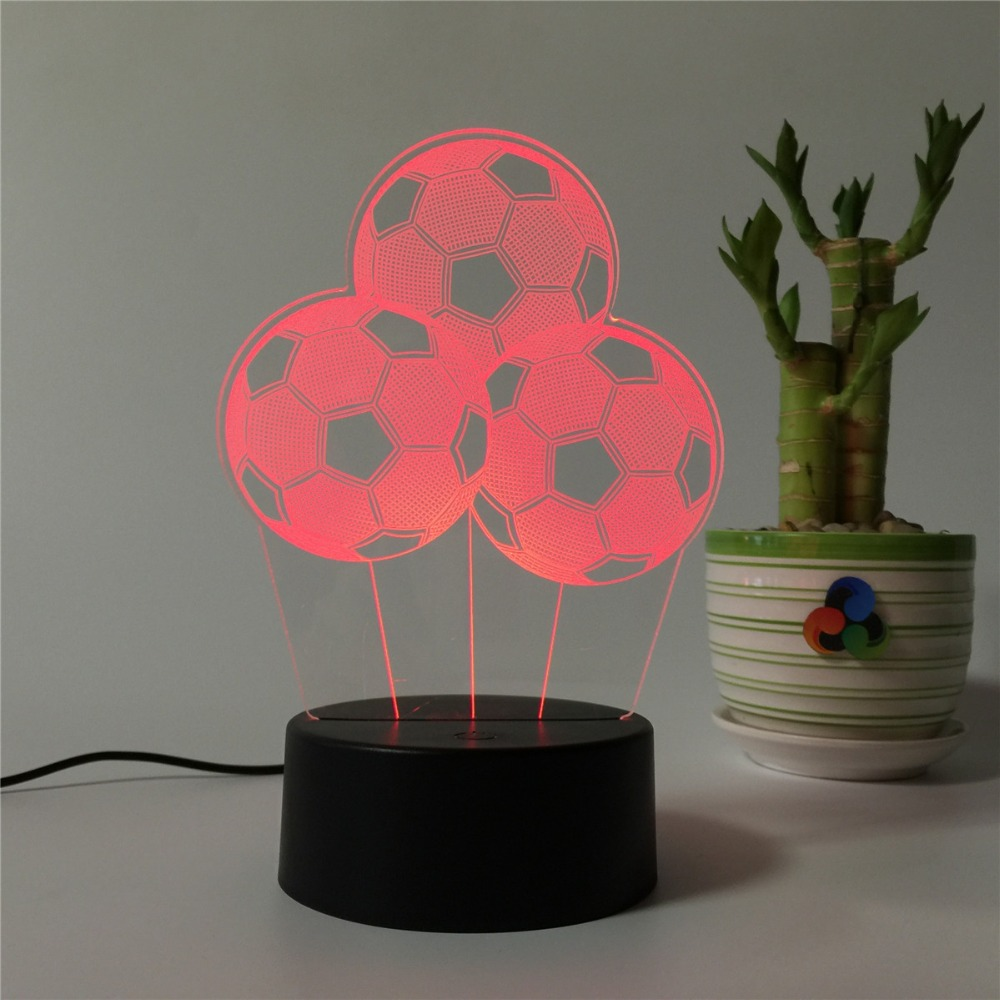 3D Football Lamp LED Acrylic Night Light 7 Colors Changing Desk Table Lamp Festival Present Gift Decor 3d led light table lamp touch switch and remote control 7 colors changing walking cat sleeping light acrylic gifts festival kids