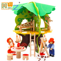 MWZ 3D Children Wooden Villa Toys DIY Tree House Disassembled Assembled Model Educational Toys Scene Play House Game