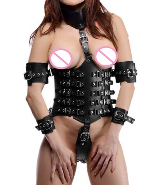 Сексуальный женский кожаный корсет с замком на талии, корсет под грудью с прикрепленным воротником и ремнями, бондажный костюм фут