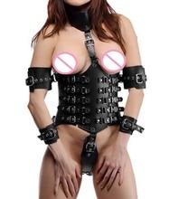 Sexy Femminile Blocco Verso il basso In Pelle Cincher del Corsetto di Underbust con Colletto Attaccato e Braccio di Ritenuta Bondage Fetish Costume