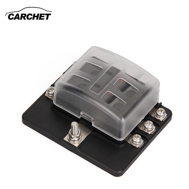 CARCHET 6 Way Blade Fuse Box Blown Cover 100A LED Illuminated Automotive Blade Fuse Holder Box_640x640 aliexpress com buy carchet 6 way blade fuse box blown cover 100a blade fuse box at reclaimingppi.co