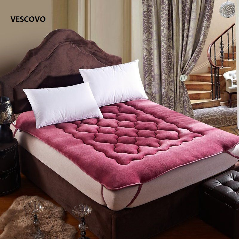 The most comfortable Fine flannel warm mattress king queen full twin size Free shipping