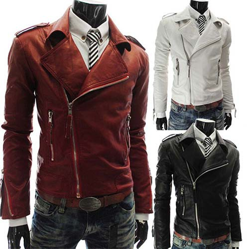 5c7a2237bd01 Men's Fashion British White/Black/Red Lapel Leather Faux Leather Biker  Jacket