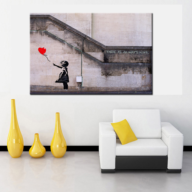 There Is Always Hope BANKSY Street Art Decorative Pictures Wall For Living Room