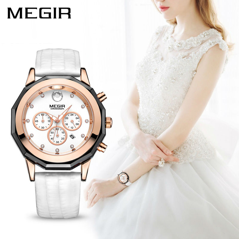 MEGIR Luxury Brand Ladies Watch Chronograph Fashion Leather Wrist Quartz Girl Watch for Women Lovers Dress Watches Clock 2042 funique fashion lovers couple watches women men leather simple yes no watch hour clock ladies quartz wrist watch relojes mujer