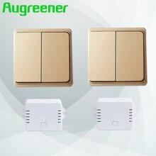 Augreener автономным питанием беспроводной переключатель 2 Передатчики + 2 приемники батареи Бесплатная для света или лампы с узнать режим настенный выключатель