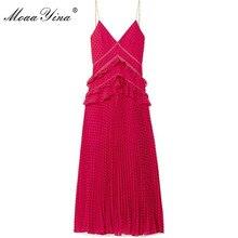 MoaaYina Red Backless Sexy Party Prom Spaghetti Strap Maxi Dresses Black Wave point Ruffles Slim elegant Dress vestidos